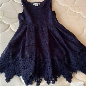 Knit Works navy lace dress, size 7